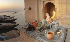 Hooded Meditators on the banks of the Ganges in Varanasi.