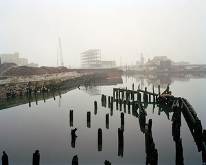 Pier remains from the Long Island Rail Road swing bridge, Blissville, Queens, looking southwest