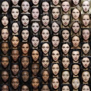 GRADIENT of 54 portraits, of 54 different ethnic origins. Art-collage №2