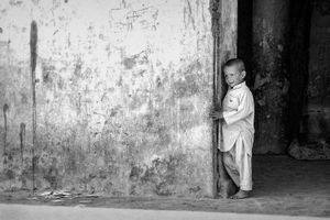 Waiting for food at a Kabul orphanage.