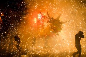 'Torito' (little bull) as it burns in honor of San Juan de Dios in Tultepec, Mexico.