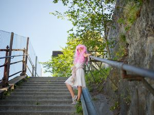 Pink wig little girl #9