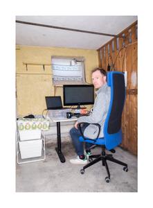 Erik Adlers, software engineer. Home office in the  basement.