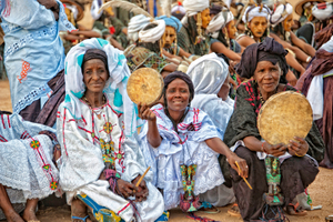 Women drummers taking a break at the Cure Salée festival in Niger
