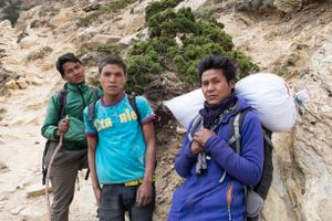 Boys make their way back home to Southern Nepal by foot after coming to Dolpo, but not finding much yartsa gunbu. Upper Dolpo, Nepal, June 2017.