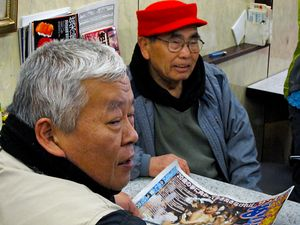 fish traders taking an after sales coffee in one of the cafés around Tsukiji