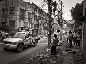 Overhead wires work, Kathmandu