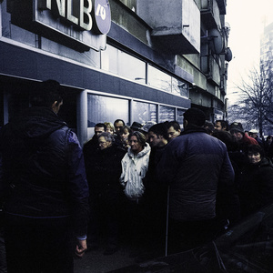 Mitrovica north, Kosovo, December 2013. Serbian people queueing for a pension  from the government of Pristina.