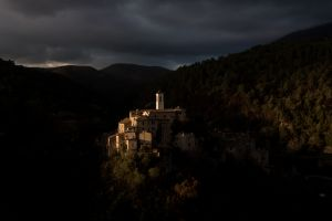 The last ray of light shines on Rocchette Sabina. A small village founded on 1200 AC of the on the Appennino Laziale mountains.