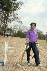 Vice captain Mary takes a break during fielding practice. Malawian Under 19 Women's Cricket Team, Blantyre, Malawi, 2016.