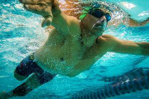 Moises Fuentes Garcia, 41, swims during a training session at the Simon Bolivar Aquatic Complex, Bogotá, June 2016.
