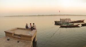 Evening Light with Three Friends on the Ganges
