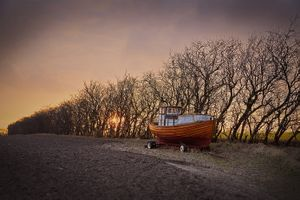 Fishingboat on land