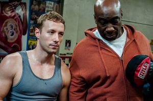 Actor/director Kent Moran & actor Michael Clarke Duncan, between takes.