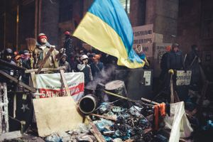 Security of the Main Staff of the Euromaidan after riot police try to clear some territory. Kiev, Dec. 11, 2014.