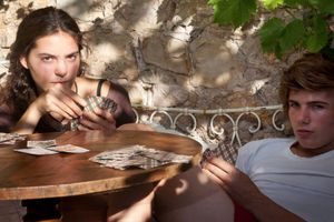 Sabine and Theo Playing Tarot, from Teen Tribe © Martine Fougeron