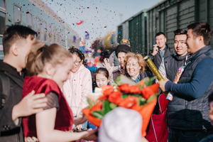 Newly married couple arrives in Atyrau