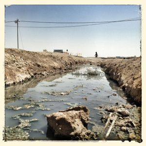 Open streams of waste water can be found at multiple locations across the camp