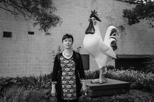 Nadia With Giant Chicken, Liberty, NY.