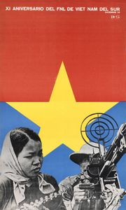 Poster published to mark the 11th anniversary of the National Front for the Liberation of South Vietnam by the OCLAE (Latin American and Caribbean Students Association). Designed by Félix Beltrán. 1971. © International Council of Graphic Design Associations Archive, University of Brighton Design Archives