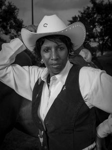 Sharon Darden is an avid trailer rider and would be riding int hte grand entry at the Bill Pickett Rodeo in Atlanta, GA on August 2 & 3, 2014. © Forest McMullin