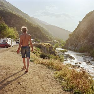 Sparky walking along Nugget Alley, Angeles National Forest, California, 2009. © Sarina Finkelstein
