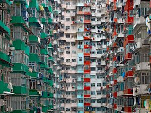 "From the series ""Architecture of Density,"" hyper-detailed, large-scale views of high-rise structures that are homes to millions in modern Hong Kong."