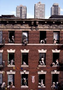 Dolls in windows, 1988.