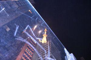 Antenna through the marked glass