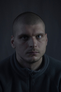 Stanislav, 23, worker, picture was taken after he spent 10 months in the war zone, December 2015, Ukraine.