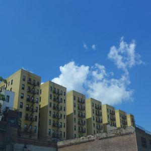 Yellow Buildings, White Clouds