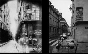 Rue des Nonnaines-d'Hyères, 1900, © Eugene Atget. Rue de Fourcy, 1998, © Christopher Rauschenberg.