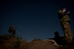 The night vigil under the stars at the forefront of Ukrainian troops near the Troitsk, Lugansk region. August 26, 2015.