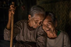 Two  women from the face tattooed tribes in chin state myanmar