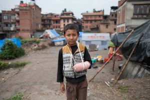 Arin (9) is a victim of earthquake, lives in a makeshift camp in Bhaktapur, Nepal