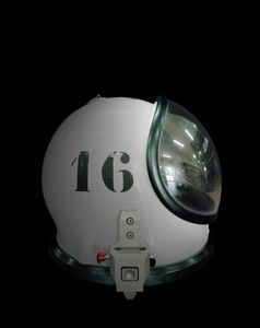 Helmet of a SCAPE suit used by the propulsion?? crew during spacecraft filling operations, CSG, Europe's Spaceport in Kourou,?? French Guiana. SCAPE stands for Self-Contained Atmospheric Protection Ensemble, a protective suit with an air supply that allows the wearer to work safely. © Edgar Martins