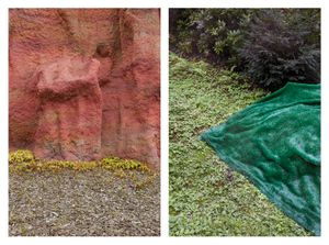 Red rock & Green fabric