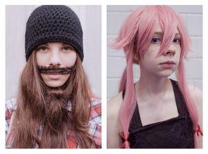 Girl with beard & Girl with pink wig