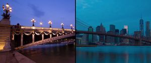 Still from the split-screen time-lapse video, Paris-NY © Franck Matellini