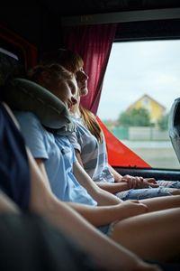 Sasha and Sophia, dozing on the bus