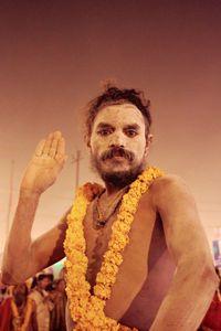 Naga sadhu giving blessing