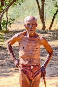 Kalahari Bushman Chief OuDam of the Ju/'hoansi tribe.