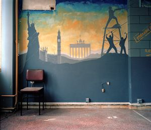 Mural 'Sold', Former building of Ministry of Employment  © Eirini Vourloumis