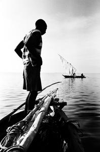 Passing ngalawa outrigger fishing boats, Zanzibar