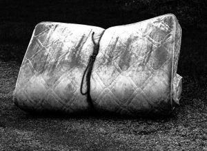 Tied up mattress