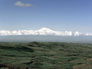 Mount Ararat, the landmark of the Armenian nation that lays within Turkish border.