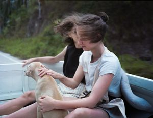 Girls with a nameless dog