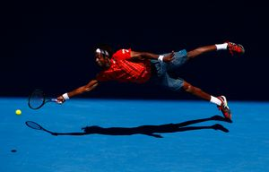 """""""Sequence as Gael Monfils dives at Australian Open 2016"""". From the Series """"'Superman' Gael Monfils dives at Australian Open 2016"""""""