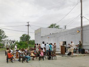 Outdoor Church Service, Lower Eastside, Detroit 2010