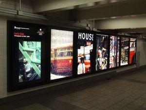 Saul Leiter photo exhibition, Bryant Park/42nd Street subway station, New York, installation photograph © 2007 John Barnes